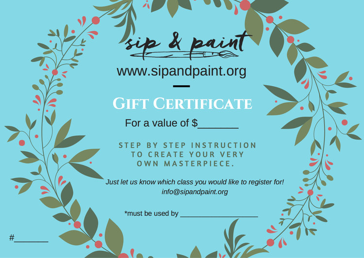 gift certificates available sip and paint