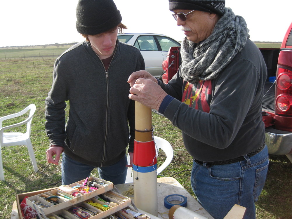 Eric B. and Jack Sprague assembling the NASA rocket.