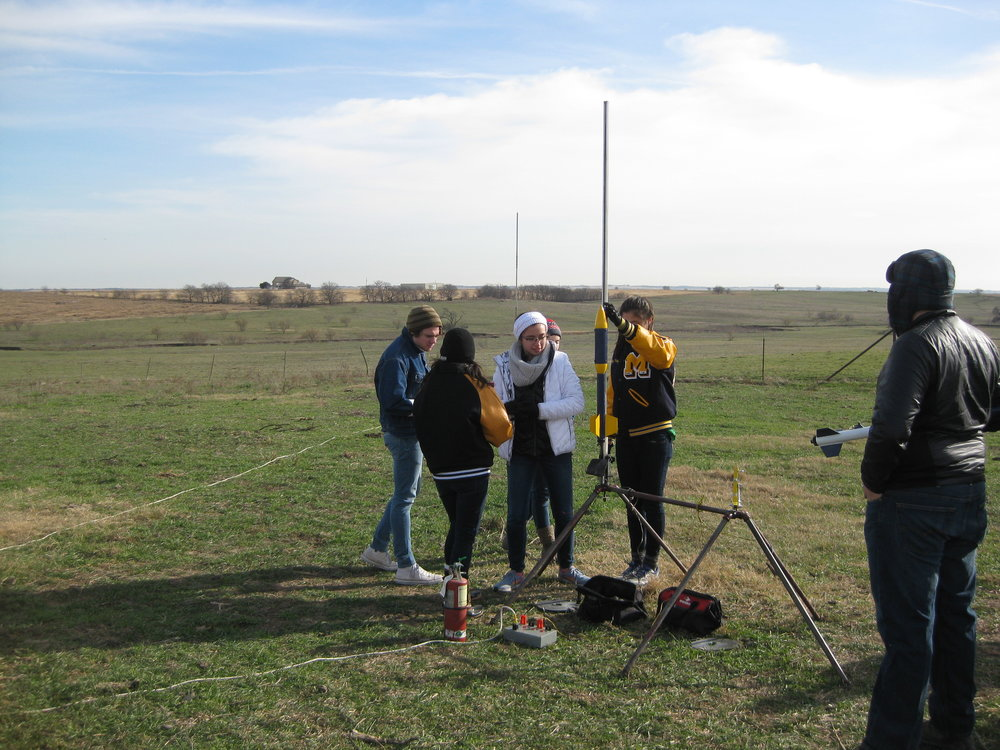 Girls' rocket being prepared for a 2nd launch.