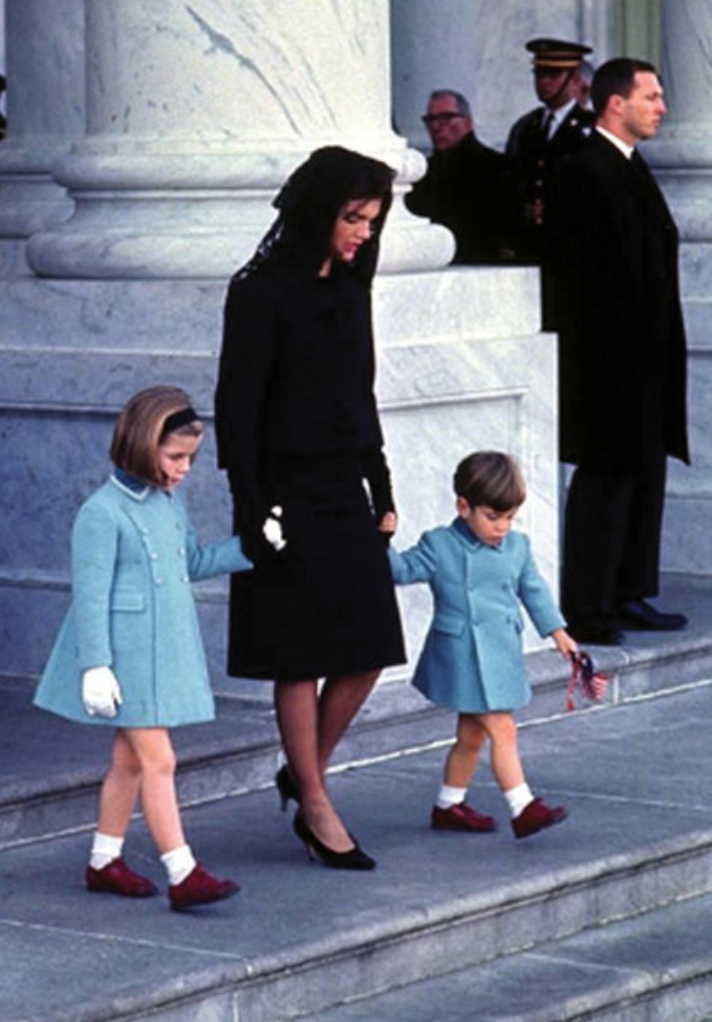 First Lady of the United States, Jacqueline Kennedy, with her children, Caroline and John Jr., at President John F. Kennedy's funeral, November 25, 1963