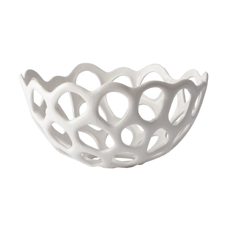 White Ceramic Perforated Bowl