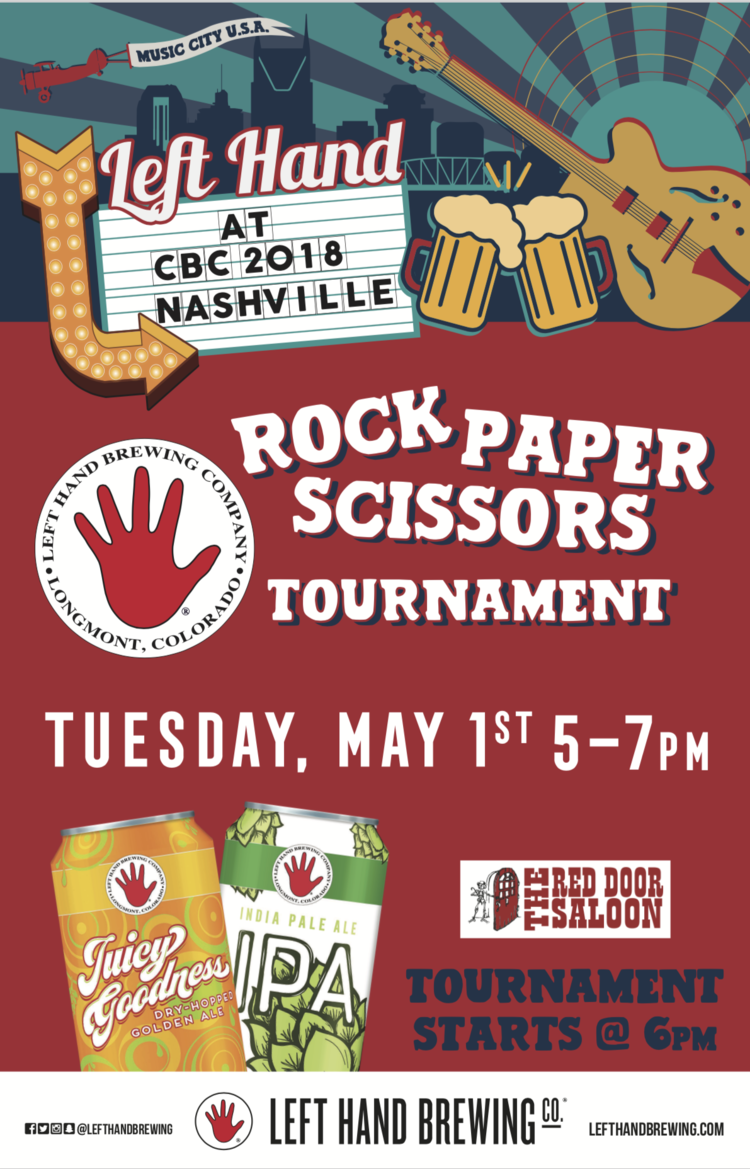 Red Door Saloon Rock Paper Scissors Tournament Left Hand Brewing