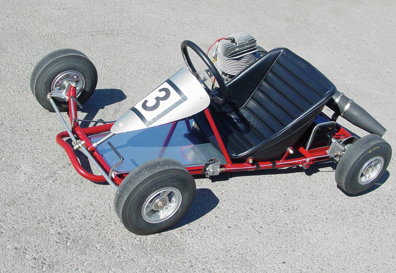 Duffy's take on a sidewinder kart known as the Flexible Flyer built in 1966.      Photo: Enzo Falconi Collection.
