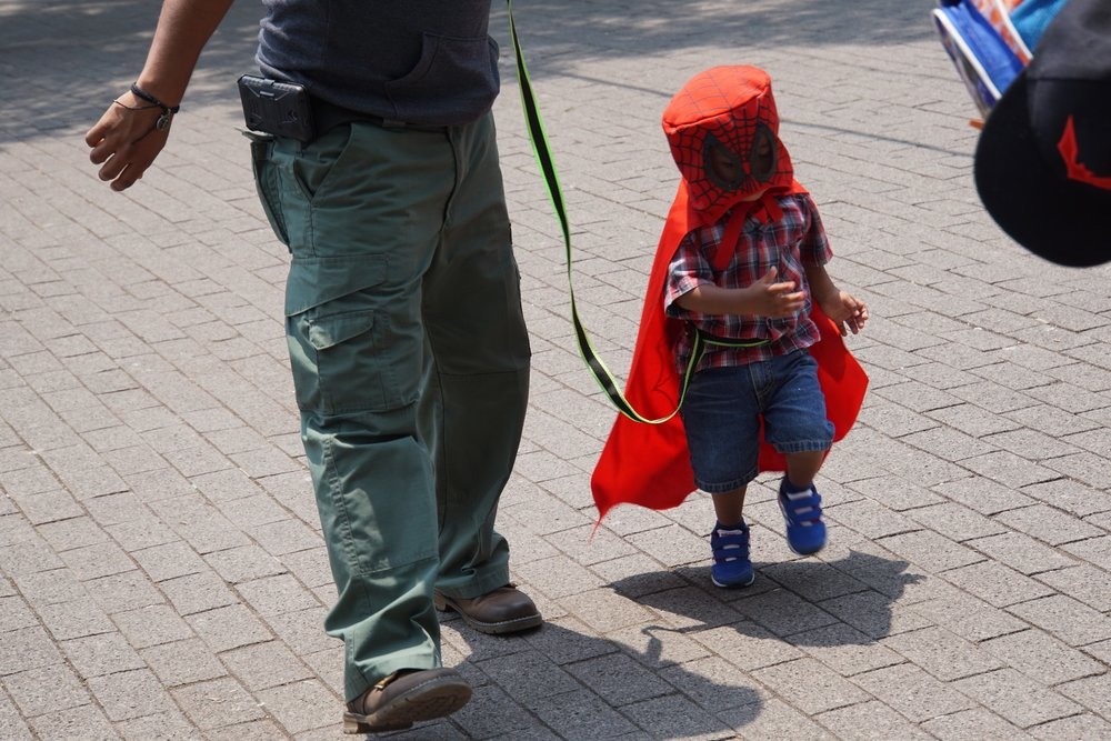 This kid is dressed as a b-movie spiderman. and he's on a leash. mexico city for the win.