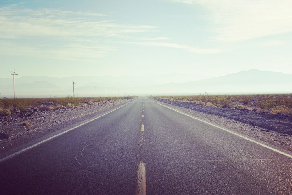 The open road awaits. this photo was taken on a desert highway in southern california.