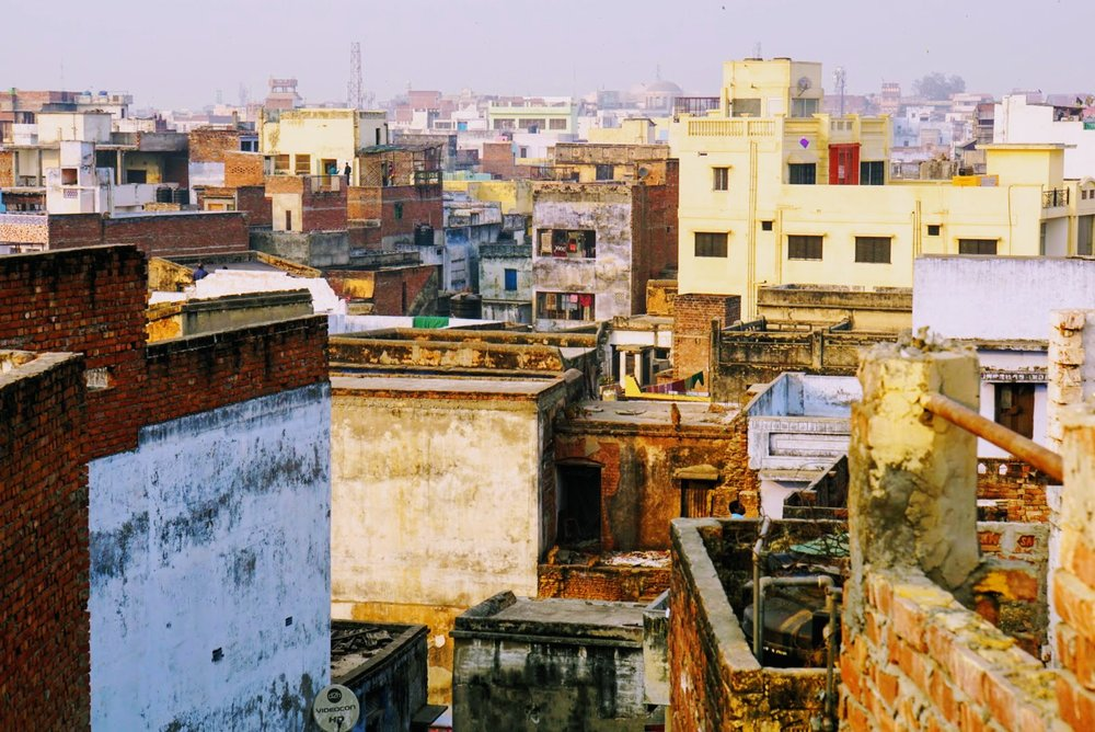 City view of Varanasi, India from the rooftop of our guesthouse.
