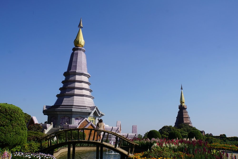 A view of the twin pagodas in doi inthanan national park