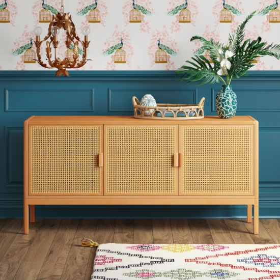 """54"""" Minsmere Caned TV Stand Classic caning makes for a natural but clean look."""