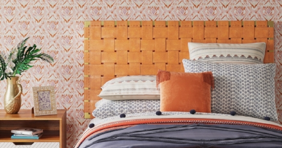Tansy Strap Headboard with metal Frame Here's a great example of how to mix-and-match your decor: with the all-Target styling shown here, this whole look is pretty over-the-top, but take the headboard out and use it in a toned-down bedroom and it becomes a really cool, interesting piece.