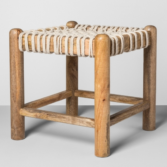 Macrame Stool foot stool, sitting stool, storage stool: the possibilities for this little guy are endless. I might even get two!