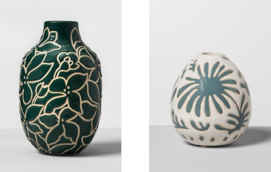 Floral Earthenware Vase  and  Earthenware Bubble Vase I love these Matisse-like patterns, and that dark green is spot on.
