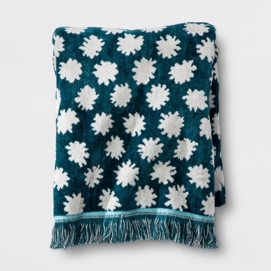 Floral Fringed Bath Towel and Hand Towel