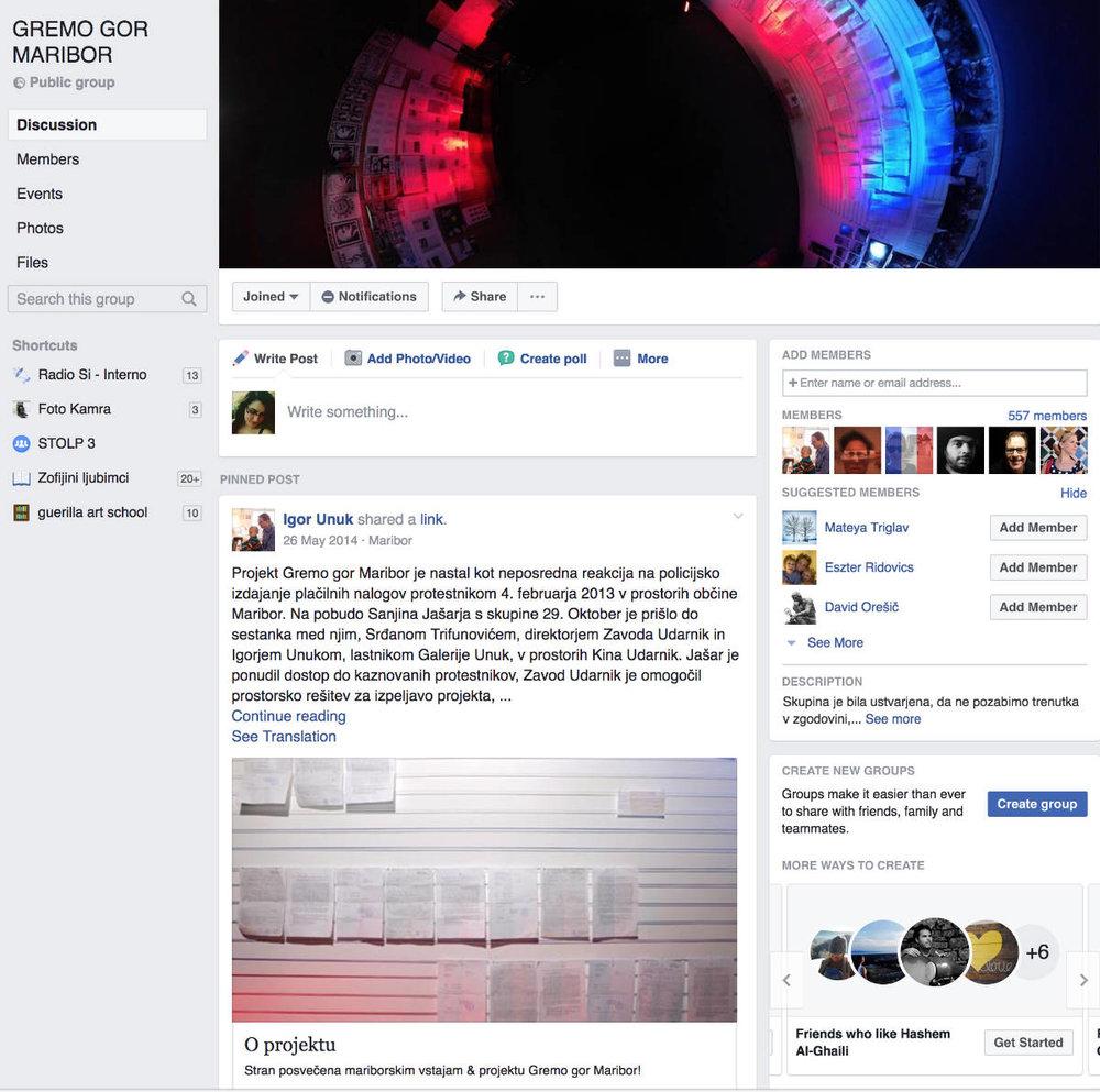 Facebook skupina Gremo gor Maribor