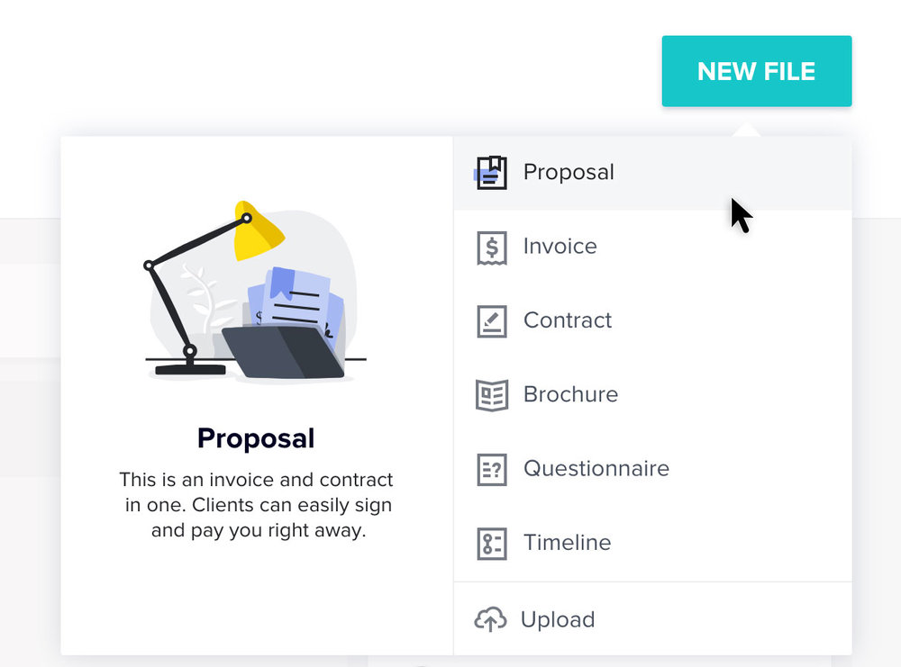 """Click """"New File"""" in the lower right corner underneath """"Project Details"""" and select """"Proposal."""""""