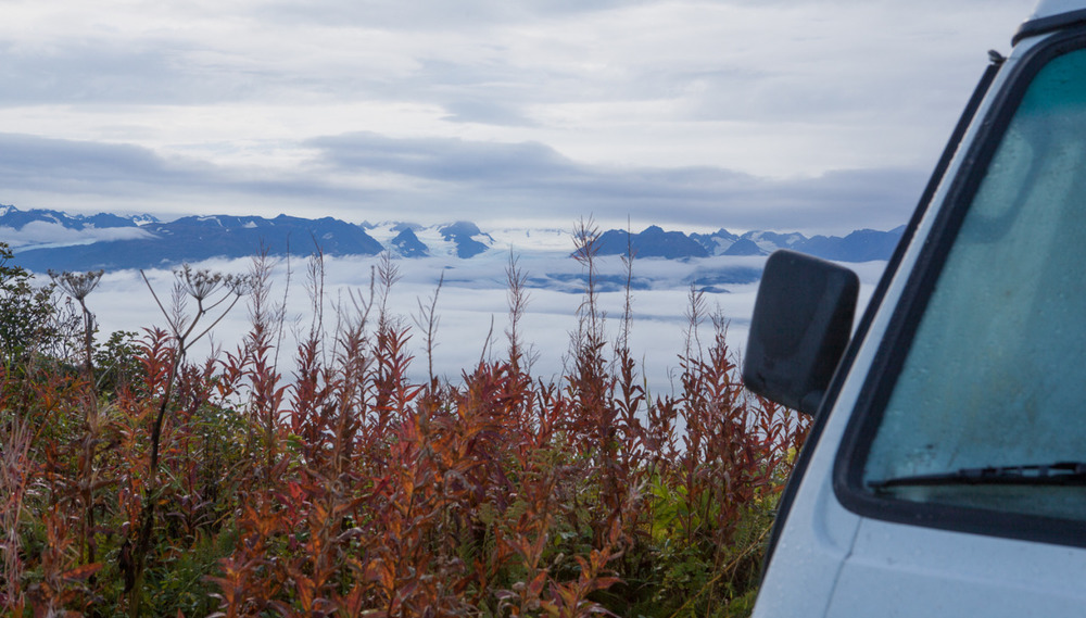 Volkswagen Vanagon camped in Homer, Alaska