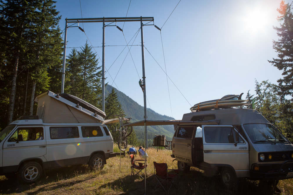 Volkswagen Vans camped on a forest road in Washington (Olympic Peninsula)