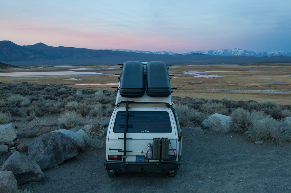 Volkswagen Vanagon camped in the Eastern Sierra, California