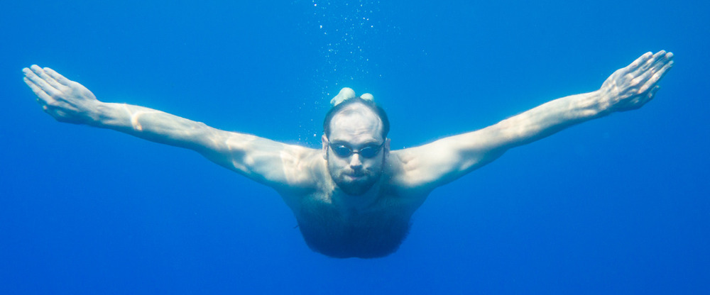 Barry swims in Crater Lake