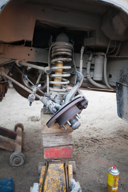 A broken down front suspension of my Volkswagen Vanagon