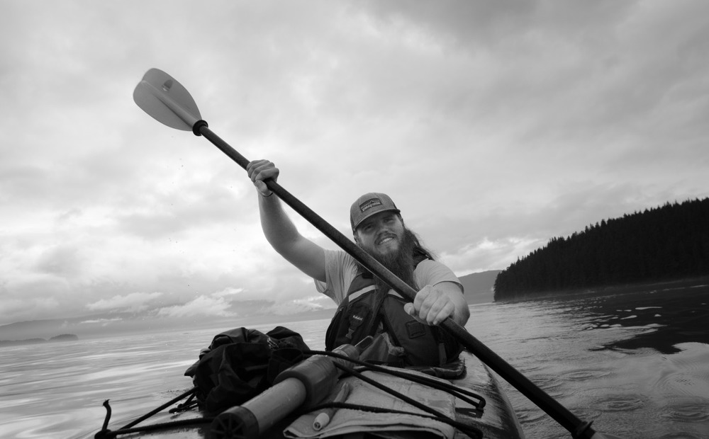 My friend Kern and I paddling around Juneau looking for bald eagles.