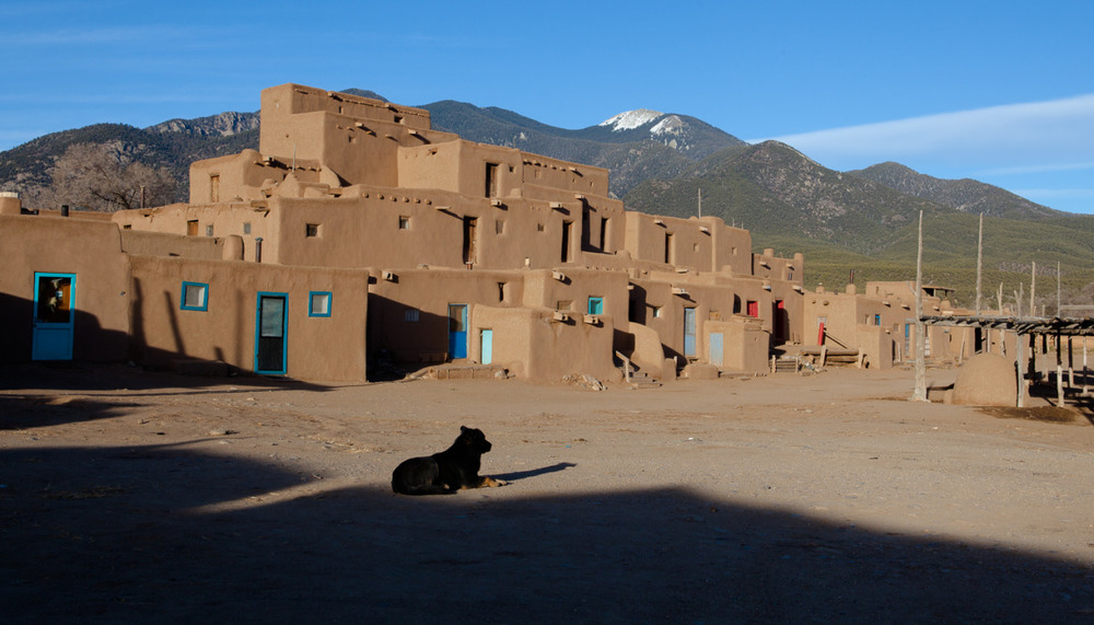 Taos Pueblo in fading evening light.