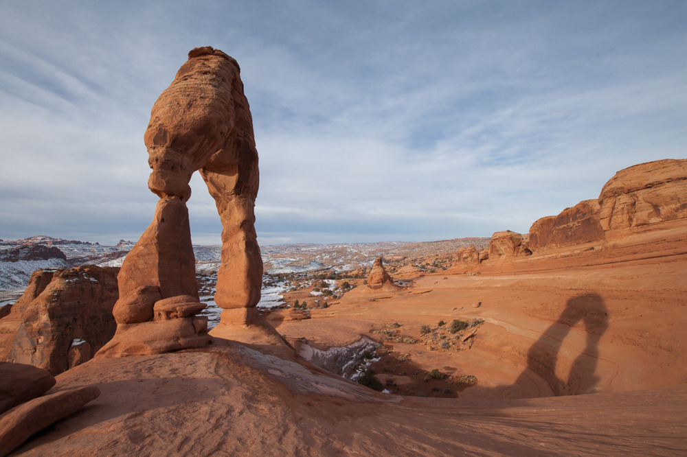 Delicate Arch in winter in Arches National Park
