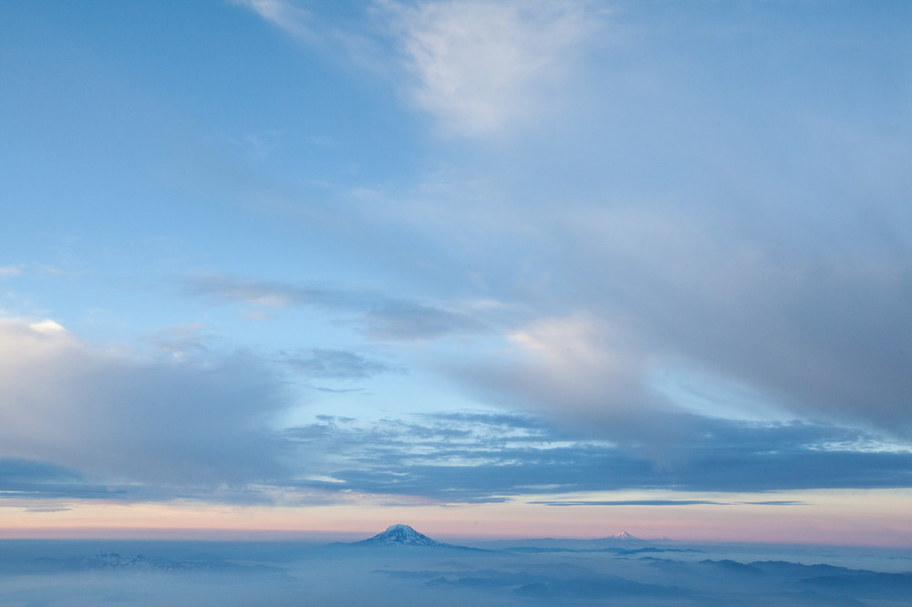 Mount Adams and Mount Hood, as seen from the near summit of Mount Rainier