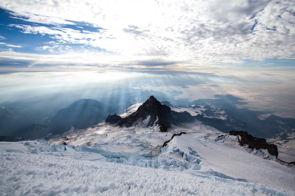 Little Tahoma Peak, as seen while downclimbing the Mount Rainier Disappointment Cleaver route