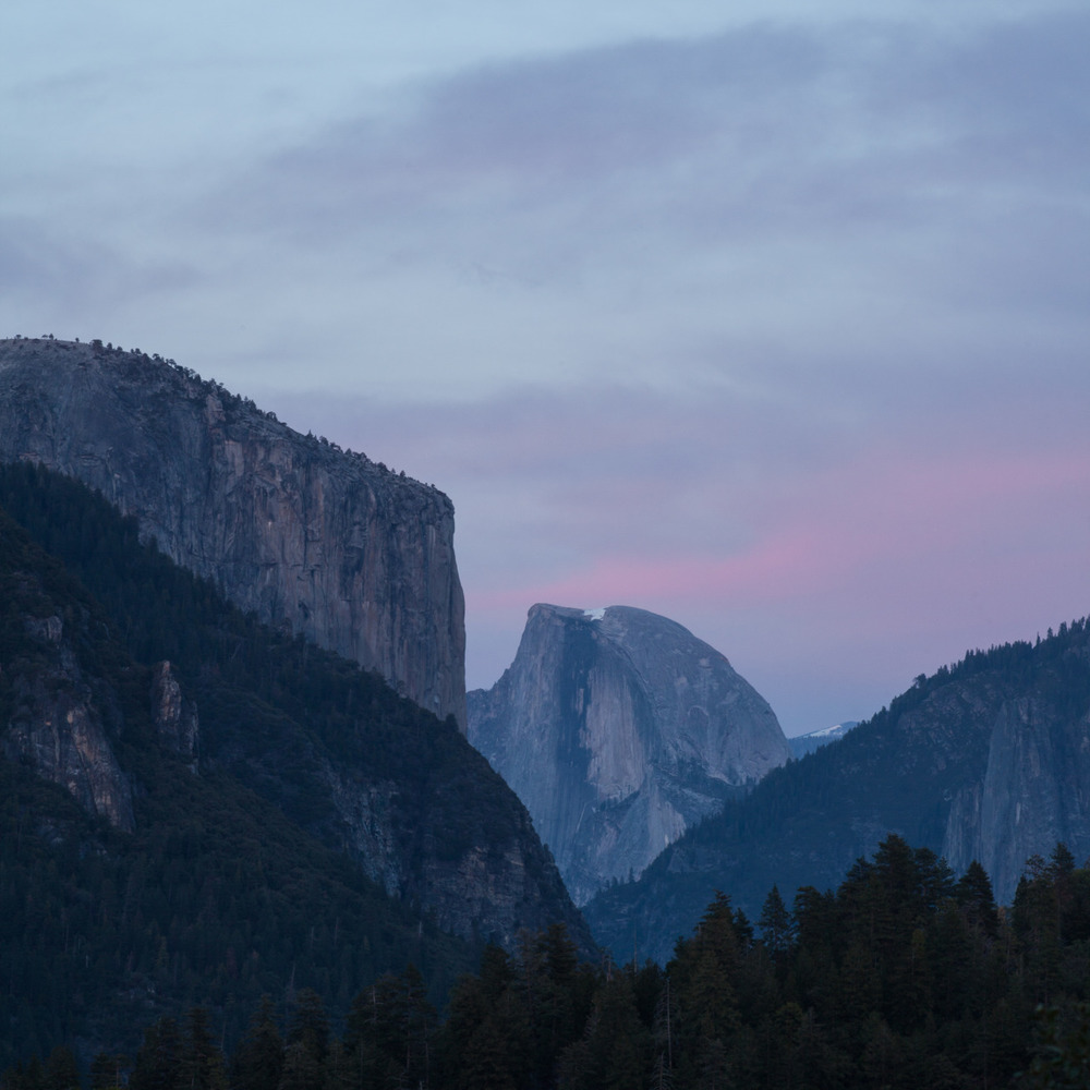 Half dome in the evening pink light