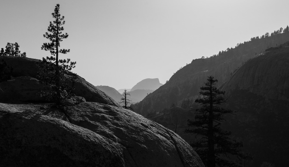 Half Dome in the distance after a long day of hiking