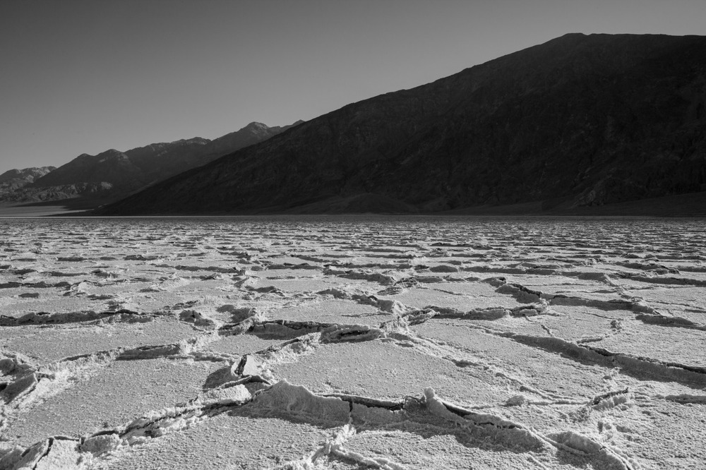 Badwater Basin at sunrise with shadows