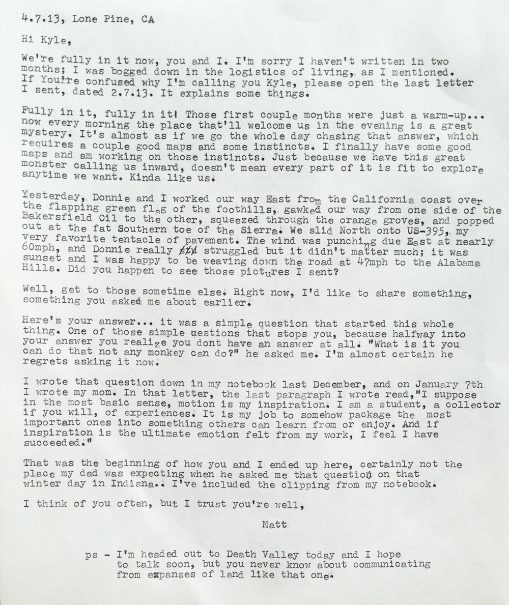 My second letter to the reader, Kyle, written on my manual typewriter from the 60s