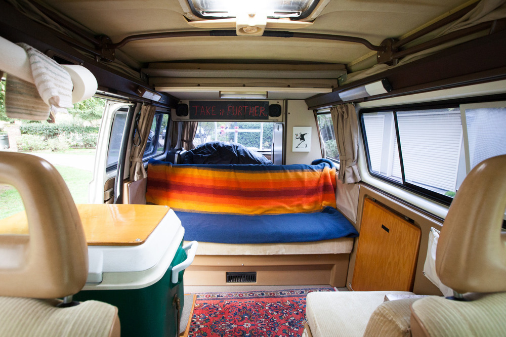 The interior of my '86 Volkswagen Vanagon I named Donnie