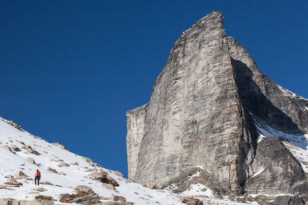 Hiking to the base of Mount Gimli in British Columbia