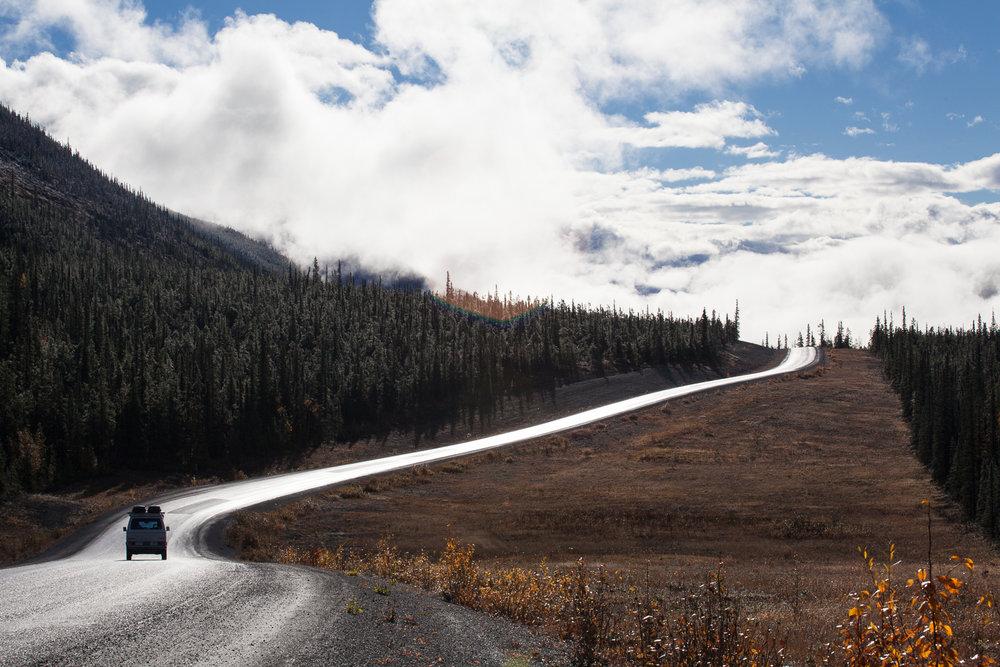 Volkswagen Vanagon driving through rural British Columbia