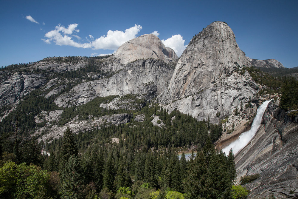 A view of Nevada Falls from the John Muir trail in Yosemite