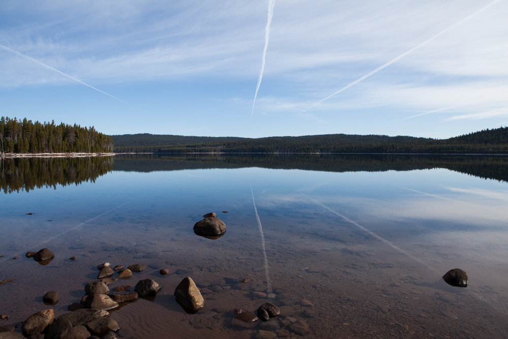 Fourmile Lake in Oregon with contrails of the morning flights, my only company