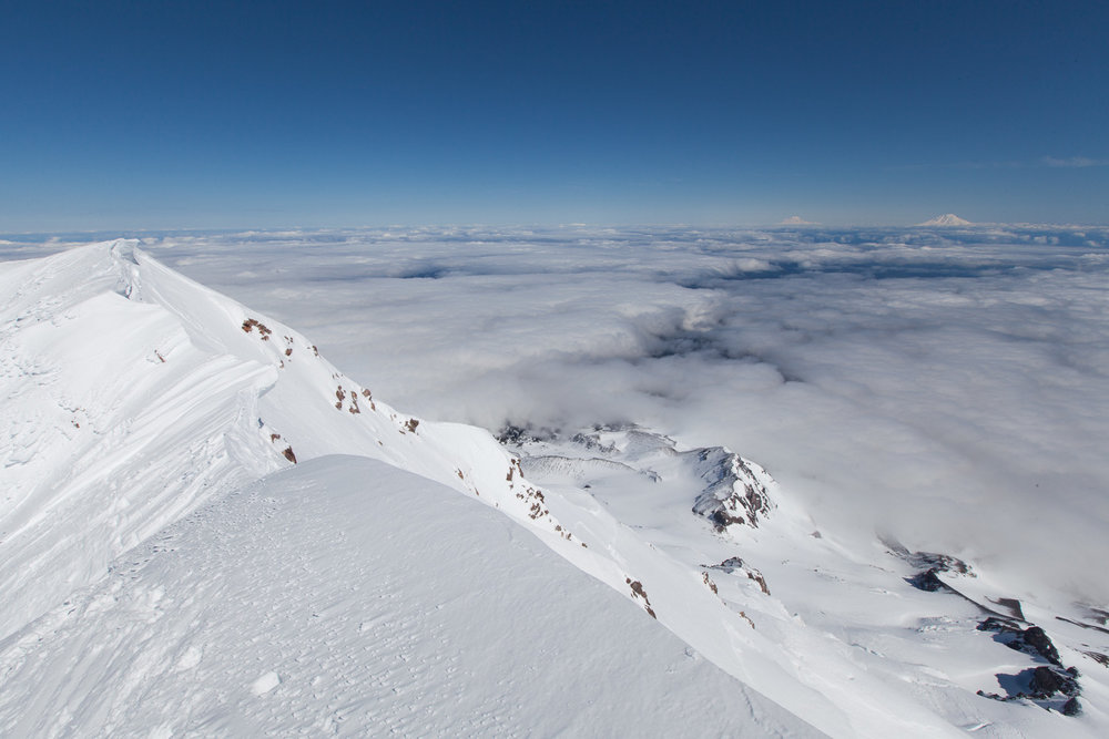 Mt Hood Summit, Mt Adams, Mt Rainier, and Mt St Helens in distance.