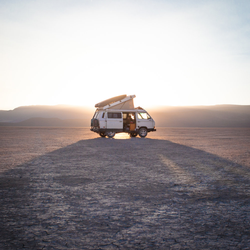 Volkswagen van camped in the Alvord Desert, Oregon