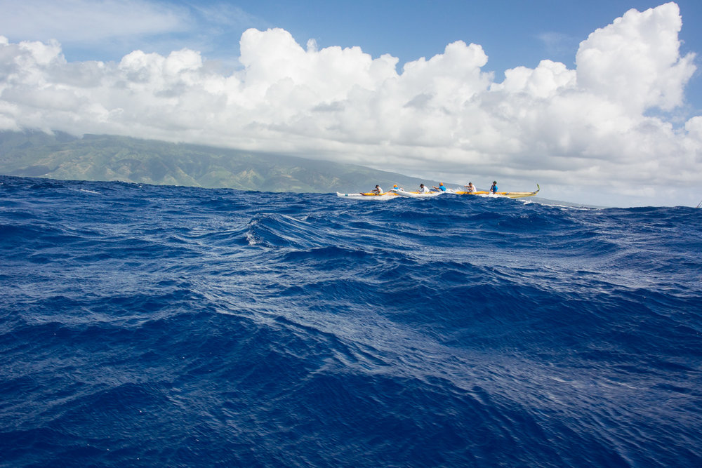 Paddling between Maui and Moloka'i, through the Pailolo Channel.