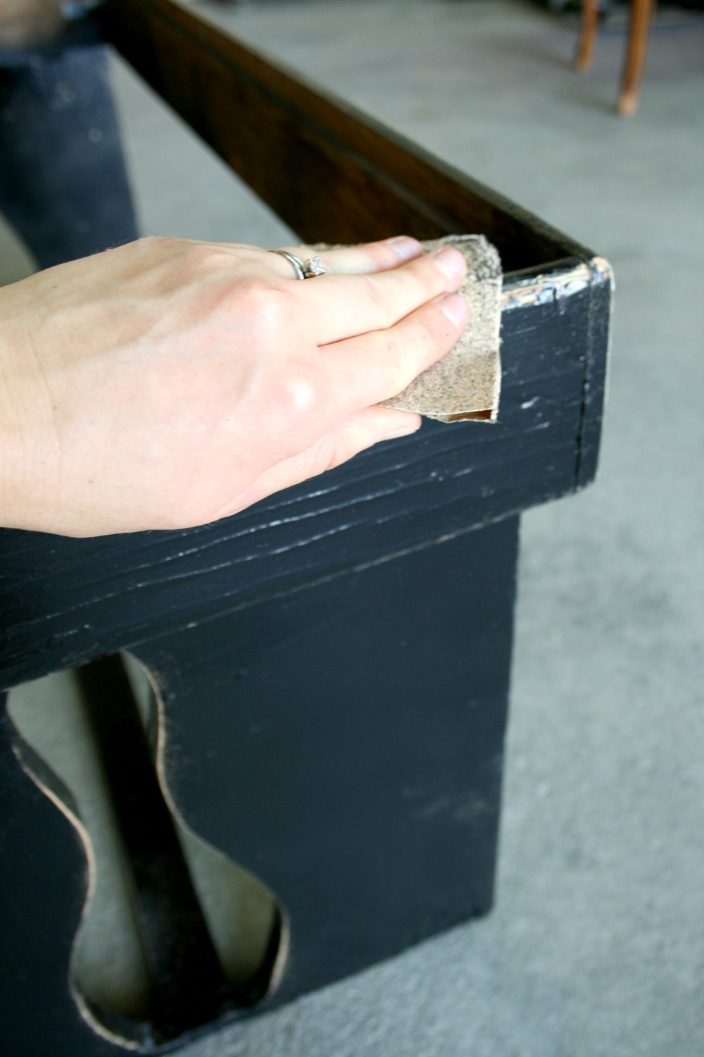 sanding and distressing a farmhouse bench.jpg