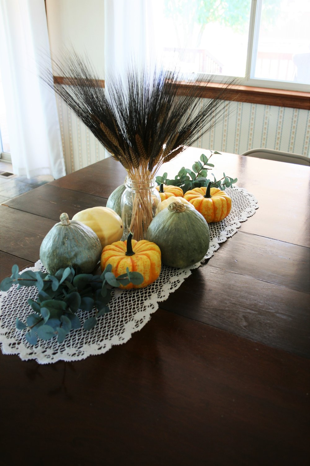 pumpkin and gourd table centerpiece