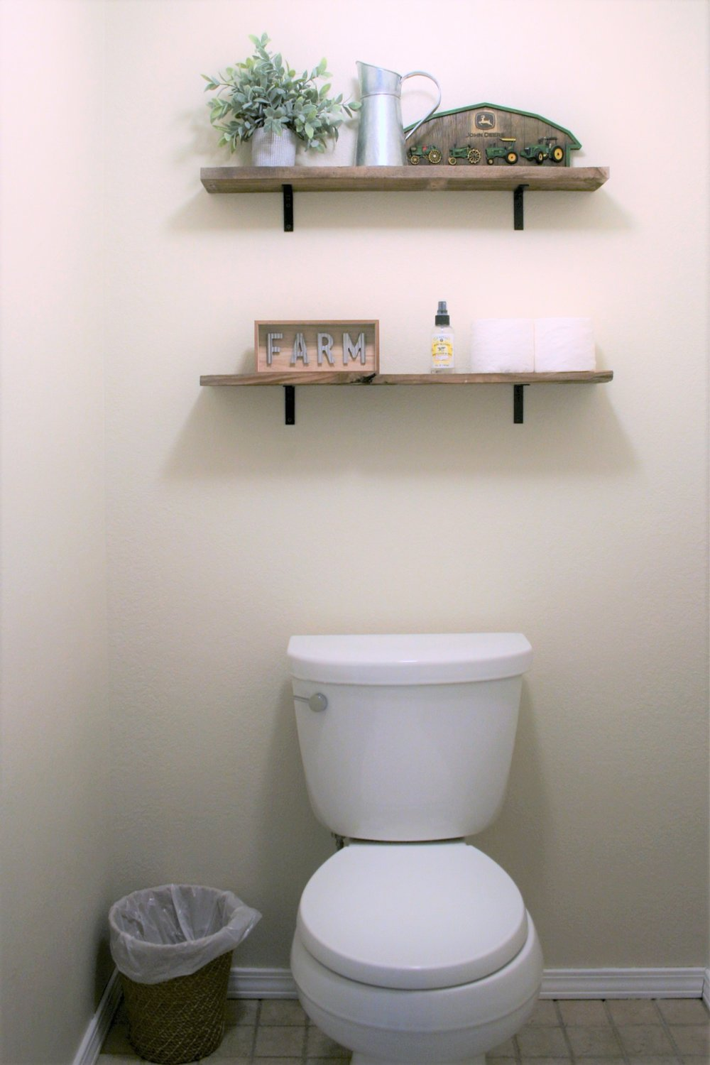 DIY Pallet Shelving Above Toilet | The Little Homeplace