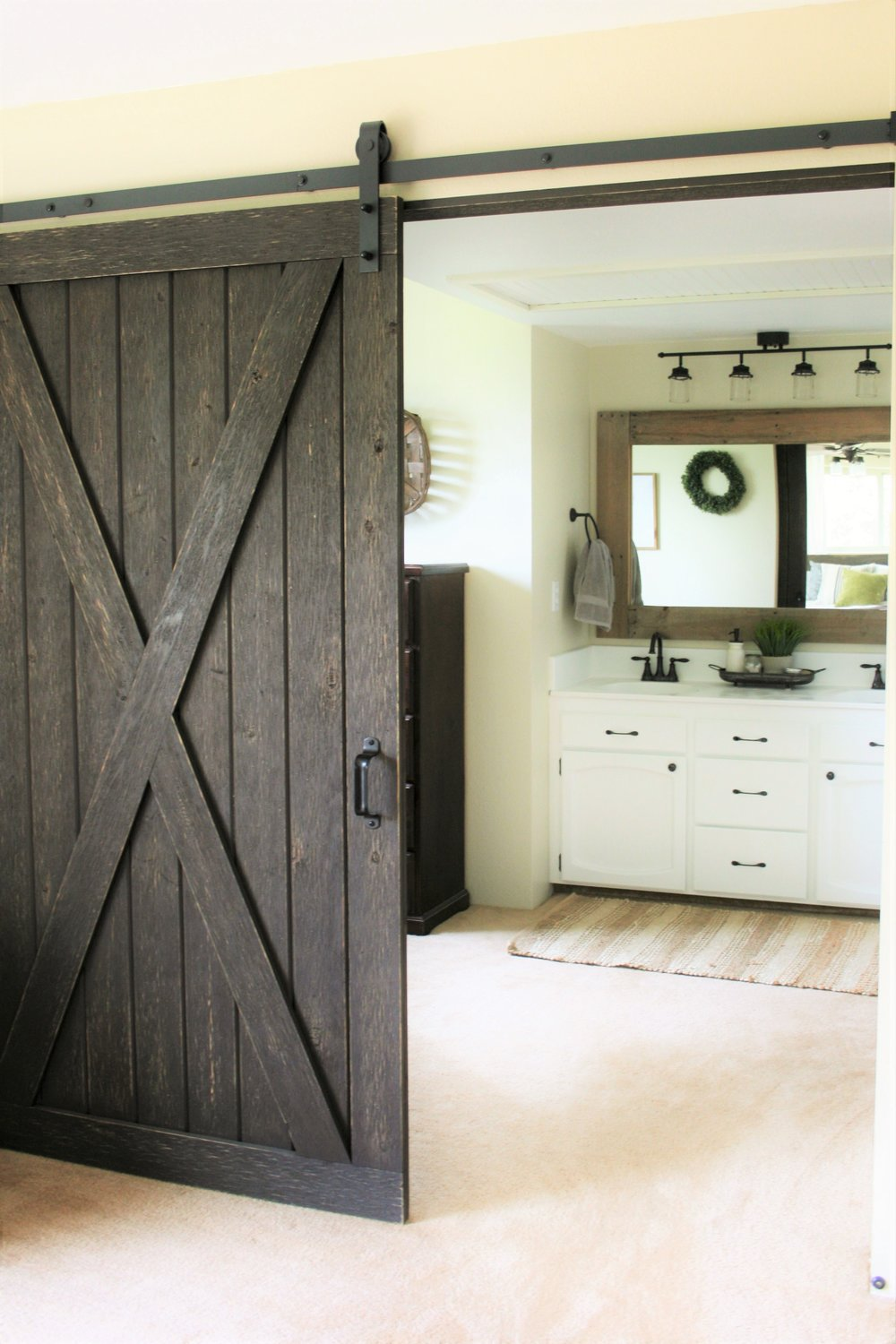 Sliding Barndoor to Farmhouse Bathroom | The Little Homeplace