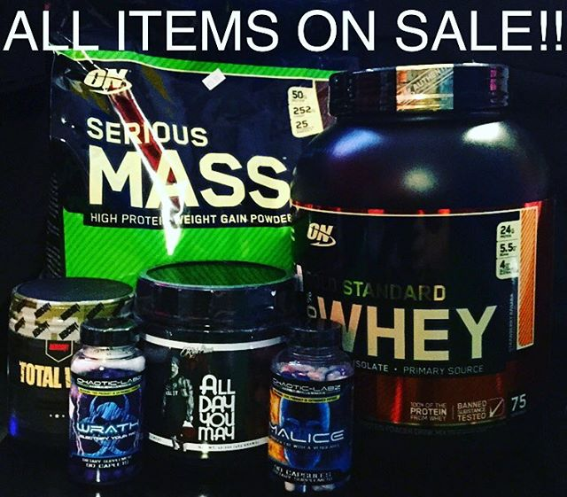 💥SALE! SALE! SALE!💥 Starting today Monday 8/27 Until Friday 8/30 we are running customer appreciation sales!! All day you may $28.00 Total war $28.00 Serious mass 12lb bag $46.00 Gold standard 5lb $47.00 Also $10.00 off all fat burners Also we will beat any competitors prices within a 5 mile radius by 10%! Just show us their price and it's a done deal 10% off! #supplement #massgainer #wheyprotein #alldayyoumay #totalwar #malice #wrath #fitness #gymlife #sale #goldsgym #pafit #planetfitness #metroflex #fitnessconnection #24hourfitness #discout #10%off #5%nutrition #onnutrition #redcon1 #chaoticlabz