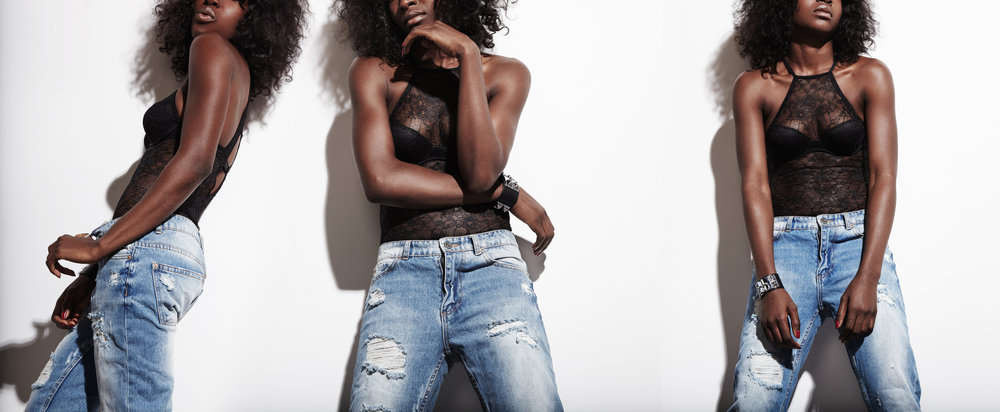 black woman wearing jeans