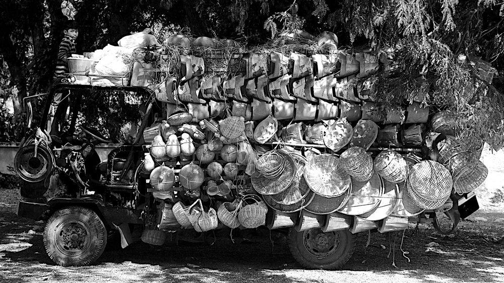 vendor and boy, cambodia