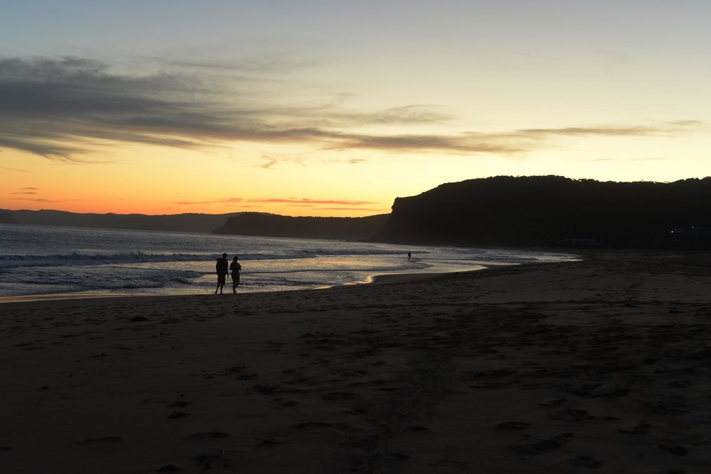 sunset silhouette putty beach kilcare bouddi national park