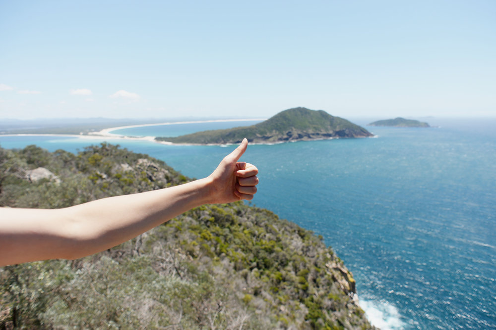 thumbs up tomaree head peak view