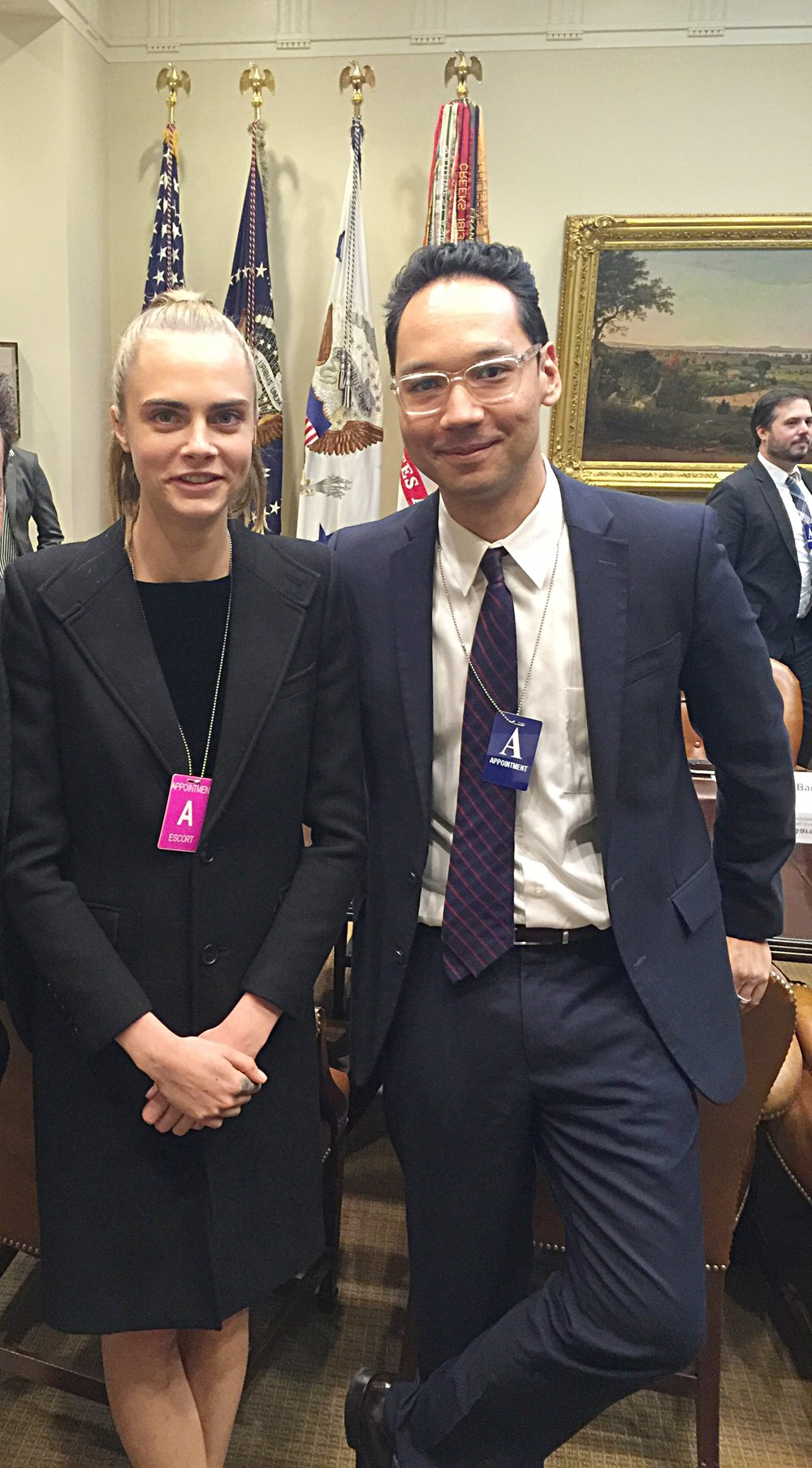 Cara Delevingne attends climate change roundtable at The White House